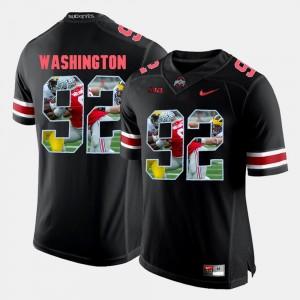 Ohio State Buckeyes Adolphus Washington Jersey Black #92 Pictorial Fashion For Men