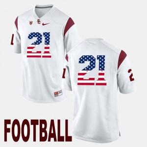 USC Trojans Adoree' Jackson Jersey Men's #21 White US Flag Fashion
