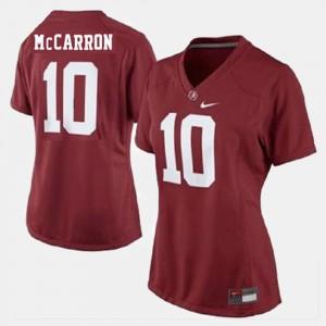Alabama Crimson Tide A.J. McCarron Jersey College Football Red Women's #10