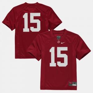Alabama Crimson Tide Jersey Youth #15 College Football Crimson