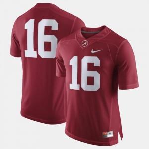 Alabama Crimson Tide Jersey For Men #16 College Football Crimson