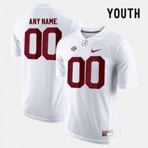 Alabama Crimson Tide Custom Jersey College Limited Football #00 White Youth(Kids)