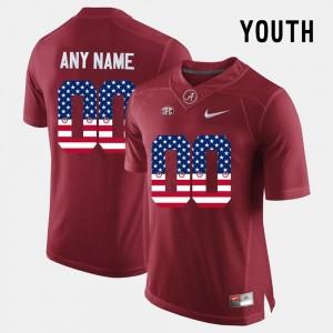 Alabama Crimson Tide Custom Jerseys Crimson #00 US Flag Fashion Kids
