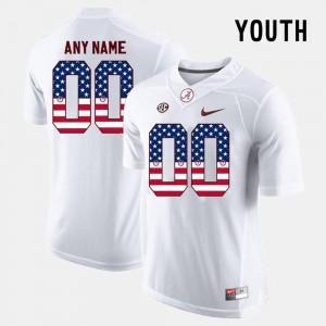 Alabama Crimson Tide Custom Jersey White US Flag Fashion Kids #00