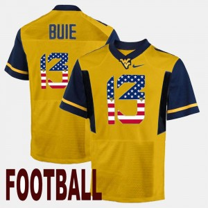 West Virginia Mountaineers Andrew Buie Jersey Mens #13 Gold US Flag Fashion
