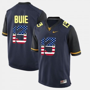 West Virginia Mountaineers Andrew Buie Jersey Mens US Flag Fashion #13 Navy Blue