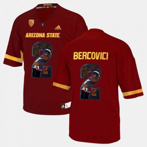 Arizona State Sun Devils Mike Bercovici Jersey For Men #2 Red Player Pictorial