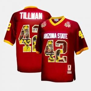Arizona State Sun Devils Pat Tillman Jersey Men's Throwback Maroon #42
