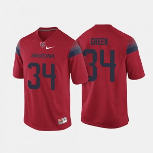 Arizona Wildcats Zach Green Jersey #34 Red For Men College Football