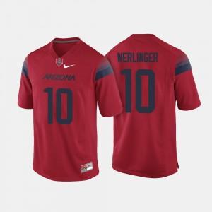 Arizona Wildcats Zach Werlinger Jersey College Football Red Men #10