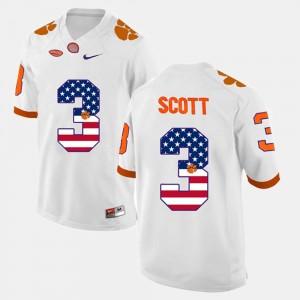 Clemson Tigers Artavis Scott Jersey For Men US Flag Fashion #3 White