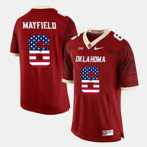 Oklahoma Sooners Baker Mayfield Jersey For Men #6 Crimson US Flag Fashion