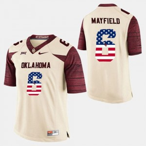 Oklahoma Sooners Baker Mayfield Jersey Mens White #6 US Flag Fashion