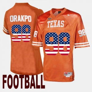 Texas Longhorns Brian Orakpo Jersey US Flag Fashion Men #98 Orange