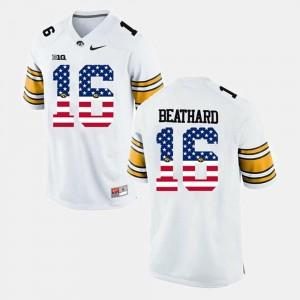Iowa Hawkeyes C.J Beathard Jersey US Flag Fashion #16 White Men's