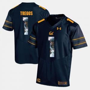 California Golden Bears Bryce Treggs Jersey #1 Navy Blue Player Pictorial Men