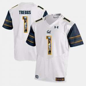 California Golden Bears Bryce Treggs Jersey White #1 Player Pictorial Mens