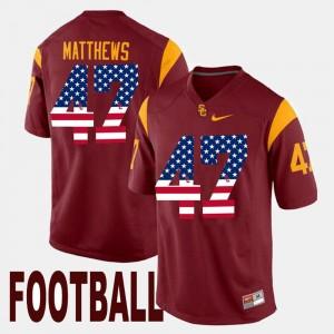 USC Trojans Clay Matthews Jersey Maroon For Men #47 US Flag Fashion
