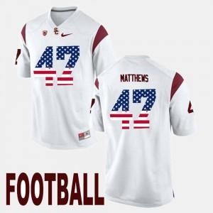 USC Trojans Clay Matthews Jersey US Flag Fashion White #47 For Men
