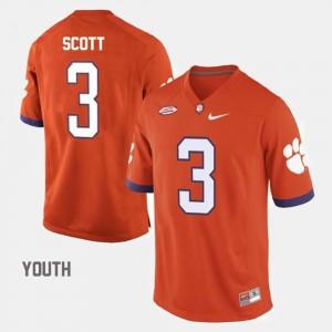 Clemson Tigers Artavis Scott Jersey #3 Orange College Football Kids