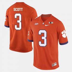 Clemson Tigers Artavis Scott Jersey College Football Orange #3 Men