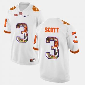 Clemson Tigers Artavis Scott Jersey #3 Men White Player Pictorial