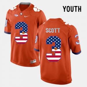 Clemson Tigers Artavis Scott Jersey Orange For Kids US Flag Fashion #3