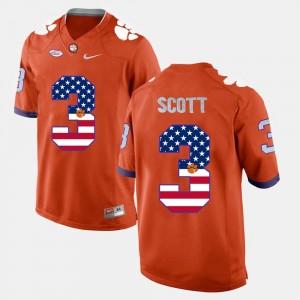 Clemson Tigers Artavis Scott Jersey #3 US Flag Fashion Orange For Men