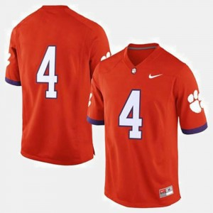 Clemson Tigers Jersey Orange Men's #4 College Football