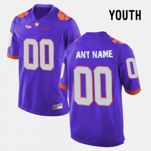 Clemson Tigers Custom Jersey Purple College Limited Football For Kids #00