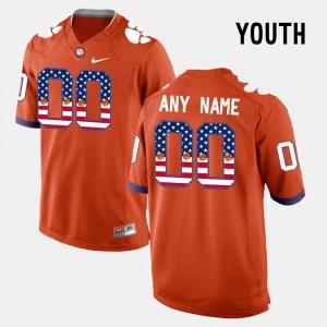 Clemson Tigers Customized Jerseys #00 US Flag Fashion For Kids Orange