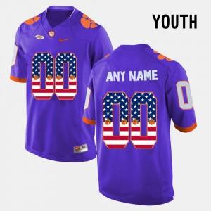 Clemson Tigers Custom Jerseys #00 US Flag Fashion Youth Purple