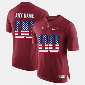 Alabama Crimson Tide Custom Jerseys Crimson For Men #00 US Flag Fashion