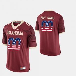 Oklahoma Sooners Customized Jersey US Flag Fashion #00 Men's Crimson