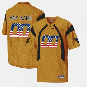 West Virginia Mountaineers Customized Jersey #00 Gold For Men US Flag Fashion
