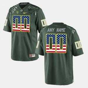 Oregon Ducks Customized Jerseys For Men Green US Flag Fashion #00