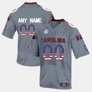 South Carolina Gamecocks Custom Jersey US Flag Fashion Grey For Men #00