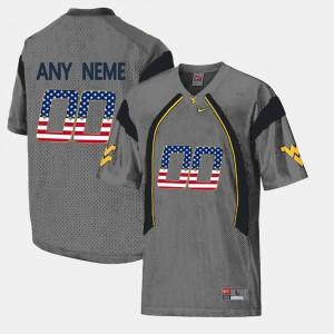 West Virginia Mountaineers Custom Jersey #00 Mens Grey US Flag Fashion