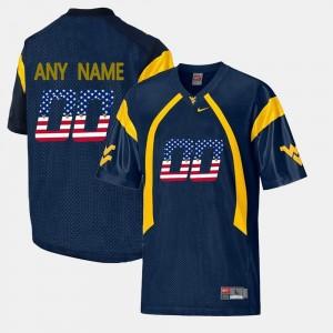 West Virginia Mountaineers Custom Jerseys #00 US Flag Fashion Men's Navy Blue