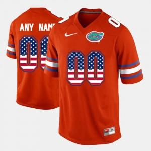 Florida Gators Customized Jerseys US Flag Fashion #00 Orange For Men