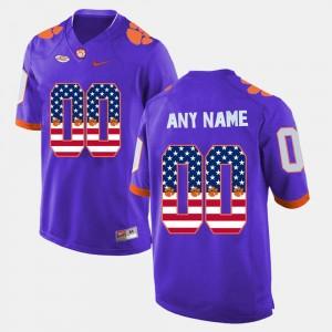 Clemson Tigers Customized Jerseys For Men US Flag Fashion Purple #00