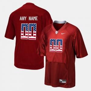 Alabama Crimson Tide Customized Jerseys Red Mens US Flag Fashion #00