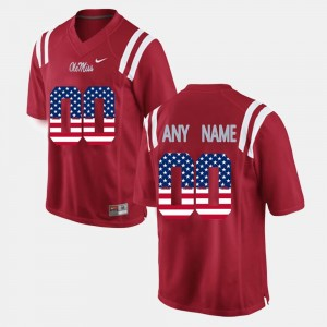 Ole Miss Rebels Custom Jerseys Red For Men's #00 US Flag Fashion