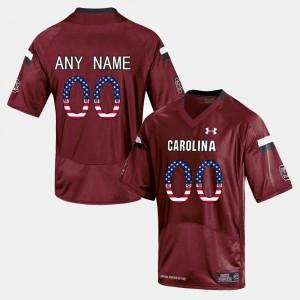 South Carolina Gamecocks Customized Jerseys US Flag Fashion #00 For Men Red