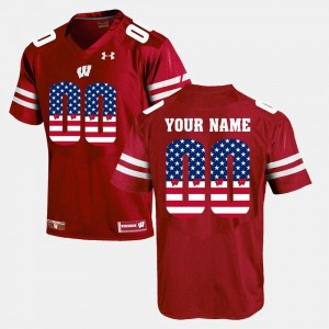 Wisconsin Badgers Customized Jersey US Flag Fashion Men's Red #00