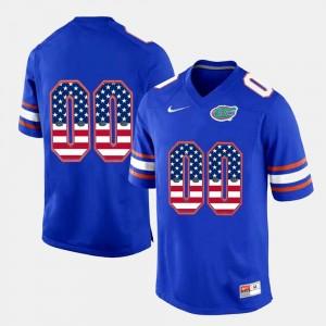 Florida Gators Customized Jersey Men's #00 Royal Blue US Flag Fashion