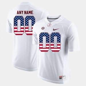 Alabama Crimson Tide Custom Jersey White Mens #00 US Flag Fashion