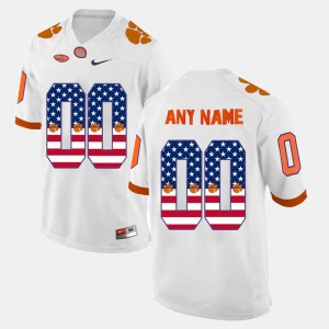 Clemson Tigers Customized Jersey #00 White For Men's US Flag Fashion