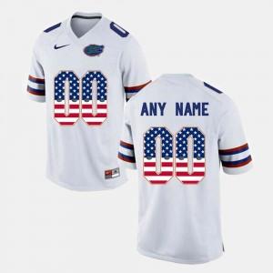 Florida Gators Custom Jerseys #00 US Flag Fashion White For Men