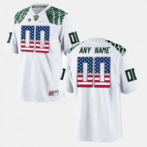 Oregon Ducks Customized Jerseys Men US Flag Fashion White #00